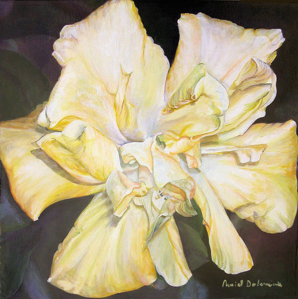 Floral Painting Poster featuring the painting Hibiscus Jaune by Muriel Dolemieux
