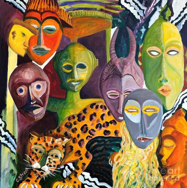 African Masks Poster featuring the painting Hidden Identities by Caroline Street