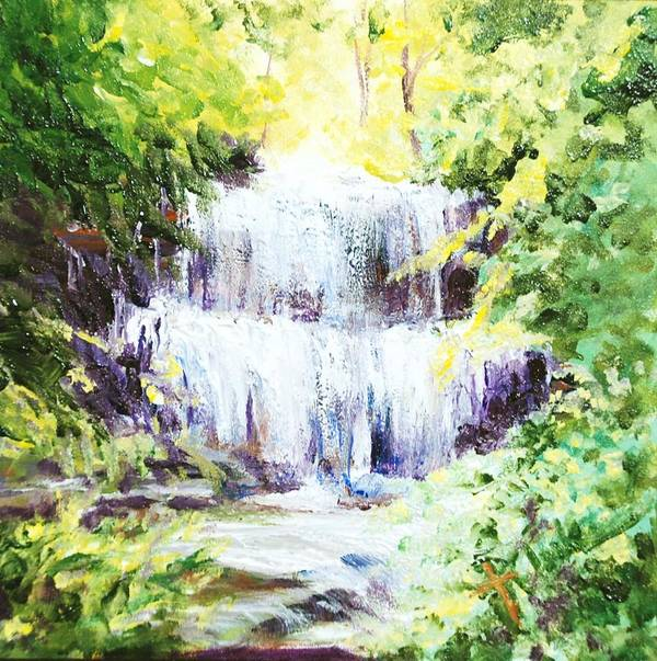 Waterfall Poster featuring the painting Honeysuckle At West Milton Falls by Donna Pierce-Clark