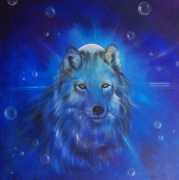 Wolf Poster featuring the painting Inner Voice by Sundara Fawn