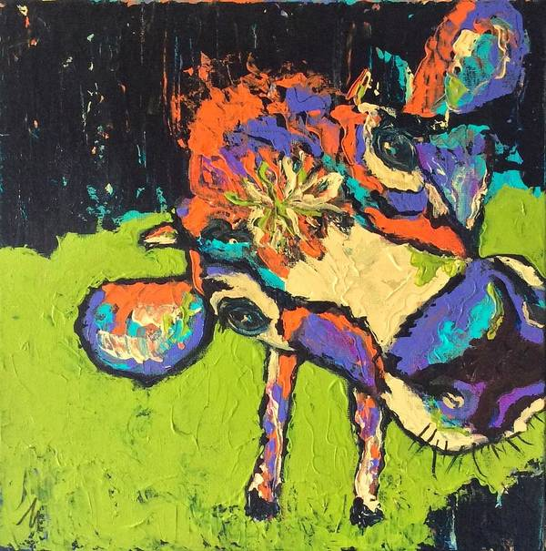 Cow Poster featuring the painting Lady Marmalade by Mary Papageorgiou