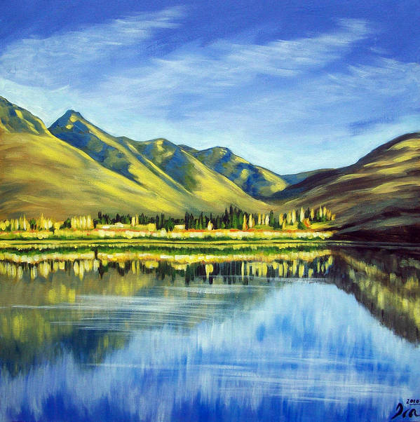 Nz Poster featuring the painting Lake Hayes Nz by Ira Mitchell-Kirk