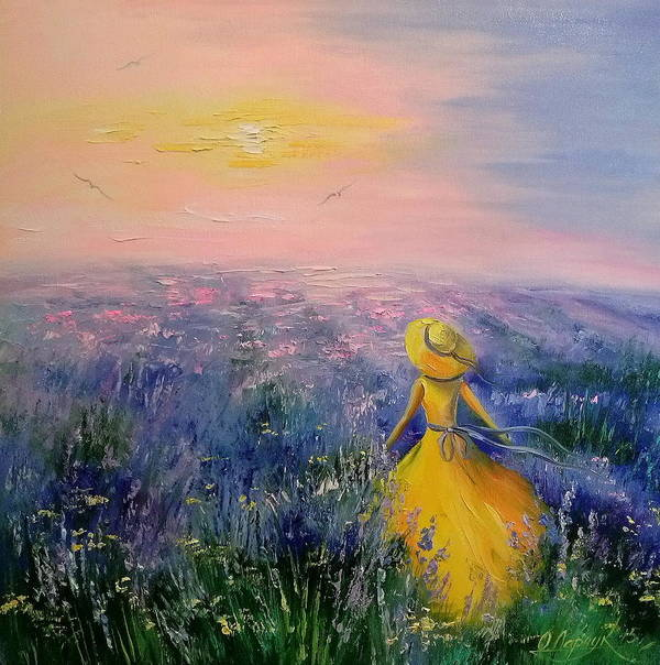 Lavender Field Poster featuring the painting Lavender Field by Olha Darchuk