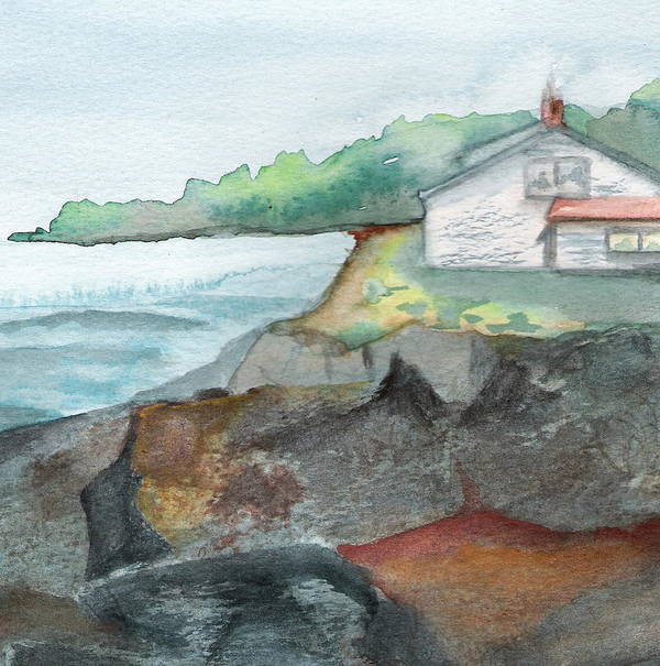 Seascape Poster featuring the painting Little Cottage by Marsha Woods