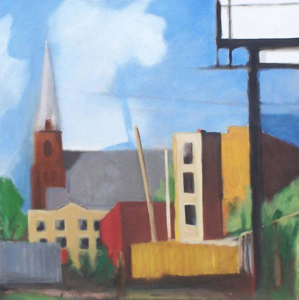 Landscape Poster featuring the painting Long Island City Church by Ron Erickson