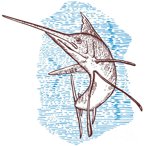 Blue Marlin Poster featuring the digital art Marlin Woodcut by Aloysius Patrimonio