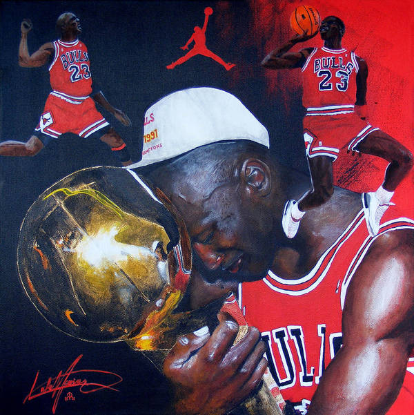 Portrait Poster featuring the painting Michael Jordan by Luke Morrison