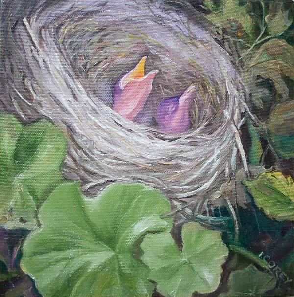 Birds Poster featuring the painting MOM by Irene Corey