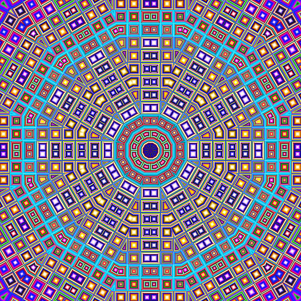 Colorful Mosaic Tiles Poster featuring the digital art Mosaic Kaleidoscope by Shawna Rowe