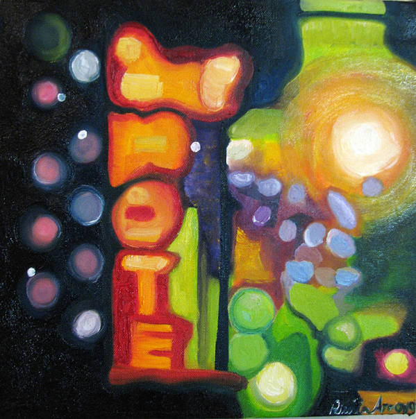 N Poster featuring the painting Motel Lights by Patricia Arroyo