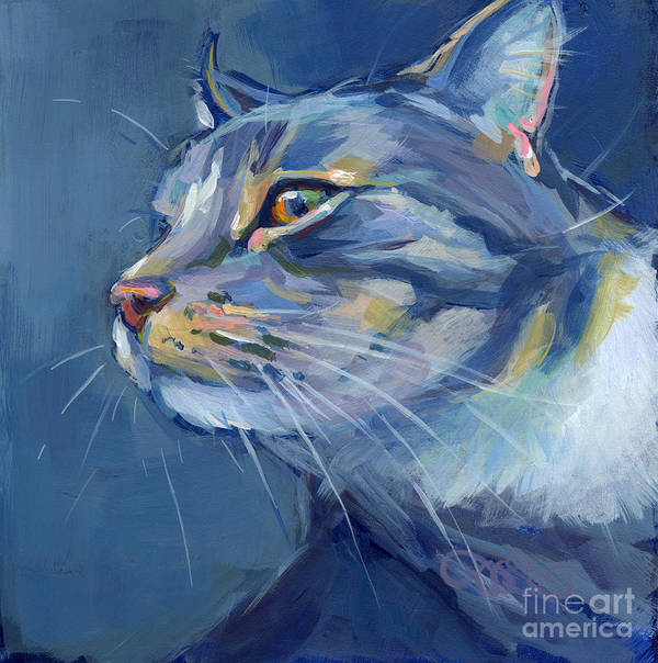 Gray Cat Poster featuring the painting Mr. Waffles by Kimberly Santini