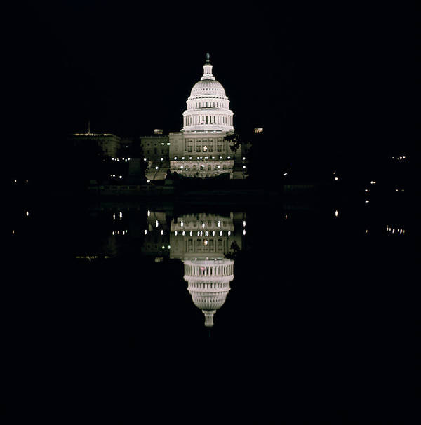 Night View Of The Capitol Poster featuring the photograph Night View Of The Capitol by American School