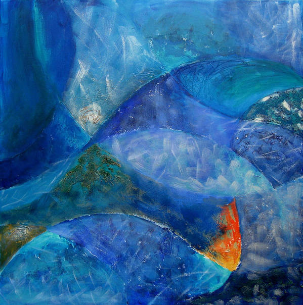 Abstract Poster featuring the painting Ocean's Lullaby by Aliza Souleyeva-Alexander