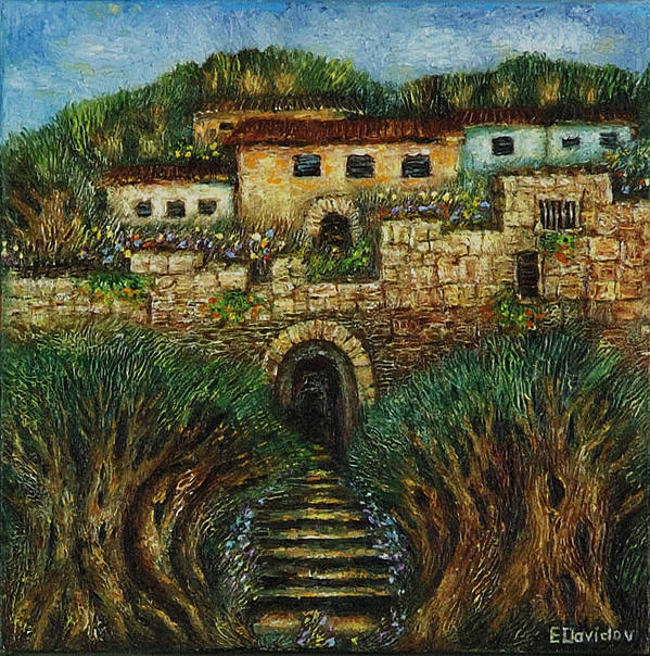 Landscape Poster featuring the painting Old City's Gate by Evgenia Davidov
