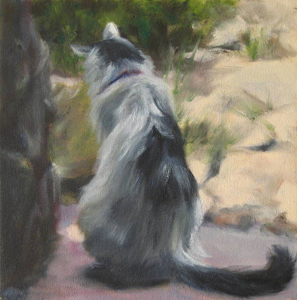 Cat Poster featuring the painting On The Threshold by Connie Schaertl