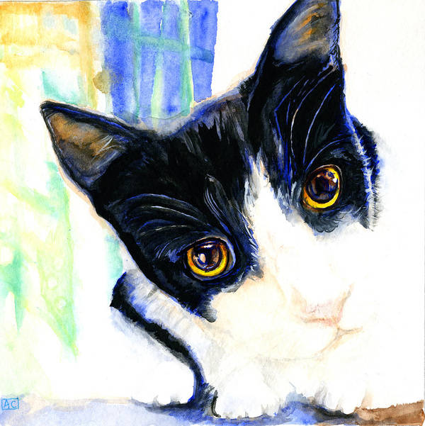Cat Poster featuring the painting One Paw In Heaven by Angela Courtney