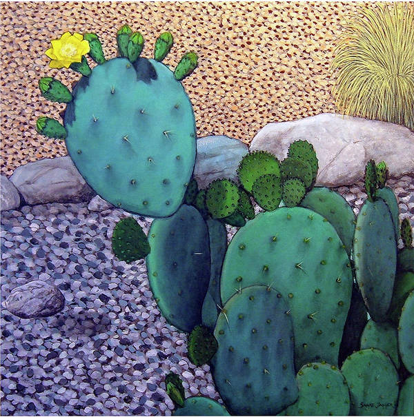 Landscape Poster featuring the painting Opuntia by Snake Jagger