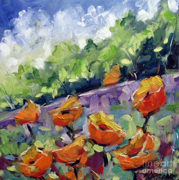 Art Poster featuring the painting Orange Poppies by Richard T Pranke
