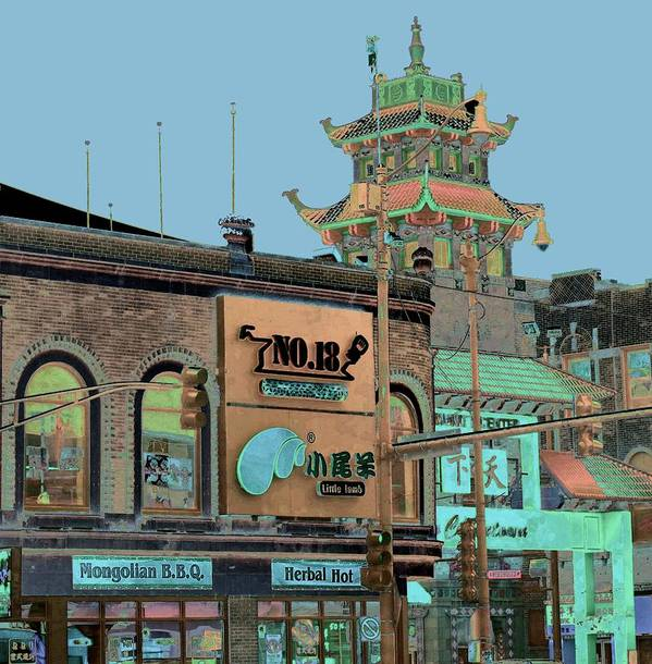 China Town Poster featuring the photograph Pagoda Tower Chinatown Chicago by Marianne Dow