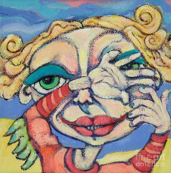 Circle Heads Art Poster featuring the painting Peek-a-boo by Michelle Spiziri