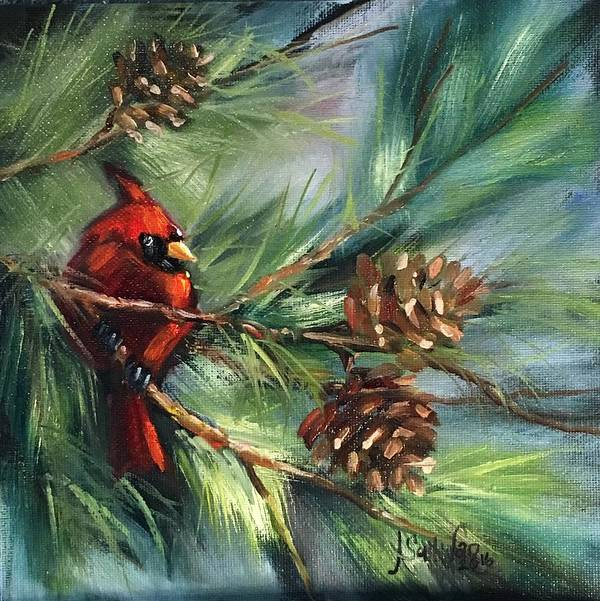 Redbird Poster featuring the painting Perched High by Angela Sullivan
