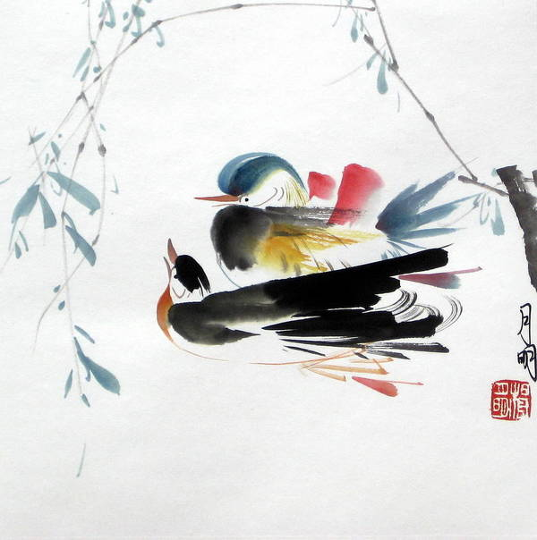 Chinese Painting Poster featuring the painting Perfect Match by Ming Yeung