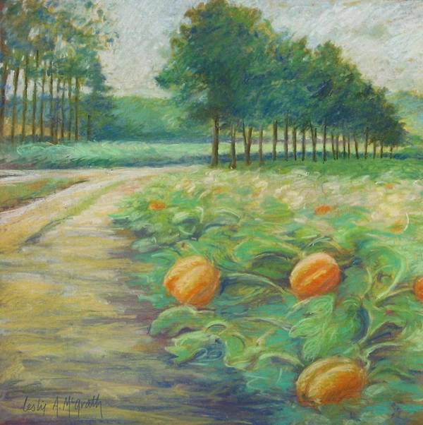 Alfred Poster featuring the pastel Pumpkin Patch by Leslie Alfred McGrath