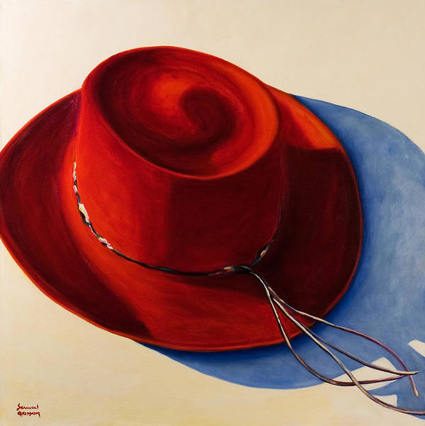 Red Hat Poster featuring the painting Red Hat by Shannon Grissom