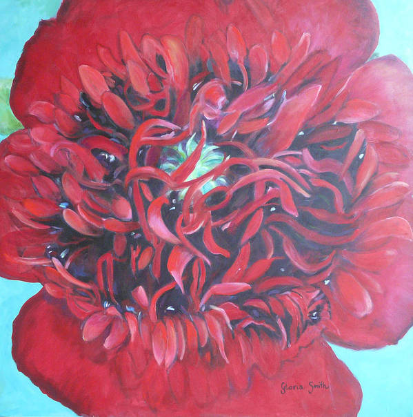 Red Flower Poster featuring the painting Red Peonie by Gloria Smith