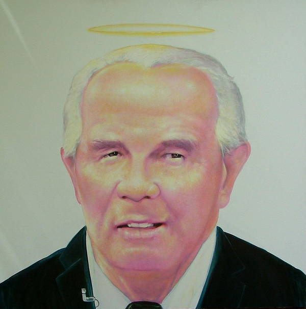 Portrait Poster featuring the painting Reverend Pat Robertson by Gary Kaemmer