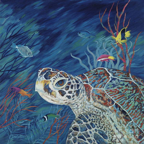 Green Sea Turtle Poster featuring the painting Rhapsody In Blue by Danielle Perry