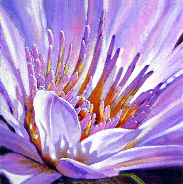 Water Lily Poster featuring the painting Royal Purple And Gold by John Lautermilch