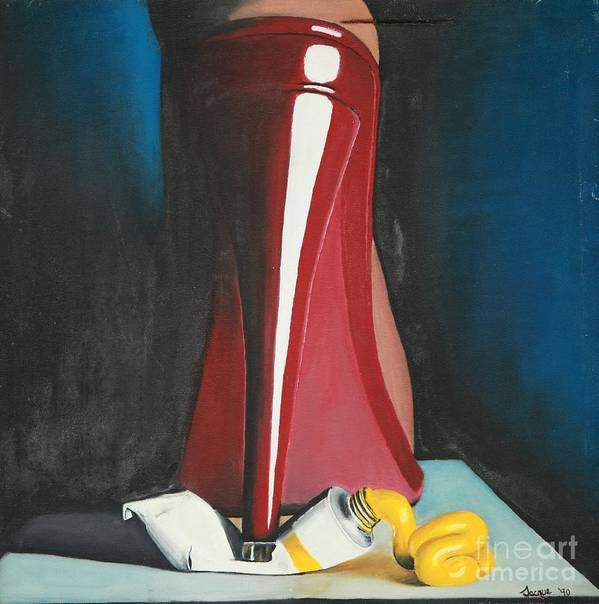 Sassy Shoe Poster featuring the painting Sassy Shoe by Jacqueline Athmann