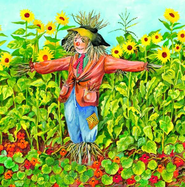 Scarecrow Poster featuring the painting Scarecrow by Val Stokes