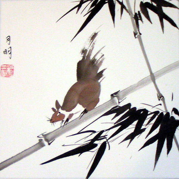 Chinese Painting Poster featuring the painting Searching For Food by Ming Yeung