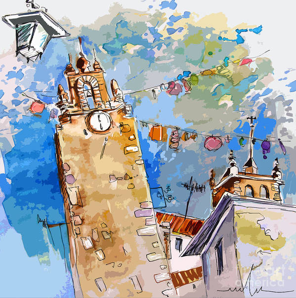 Painting Of Serpa Alentajo Portugal Travel Sketch Poster featuring the painting Serpa Portugal 08 Bis by Miki De Goodaboom
