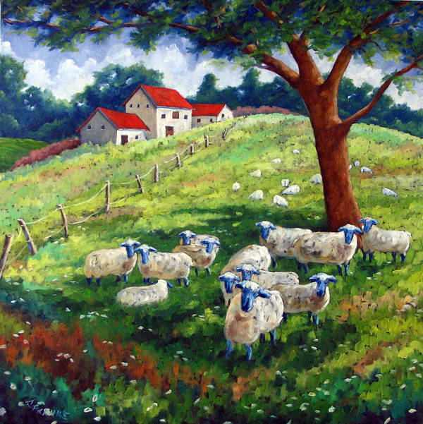 Sheep Poster featuring the painting Sheeps In A Field by Richard T Pranke