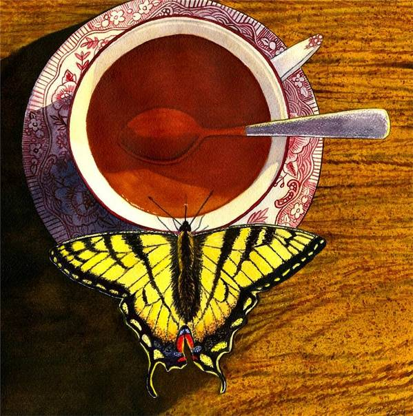 Butterfly Poster featuring the painting Sippin by Catherine G McElroy