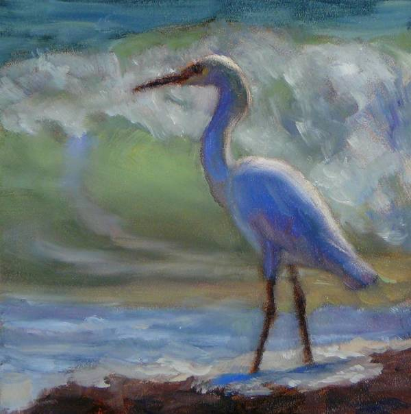 Egret Poster featuring the painting Skinny Dip by Sonia Kane