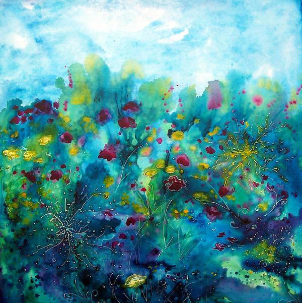 Water Garden Poster featuring the painting Soren Splash by Christy Freeman