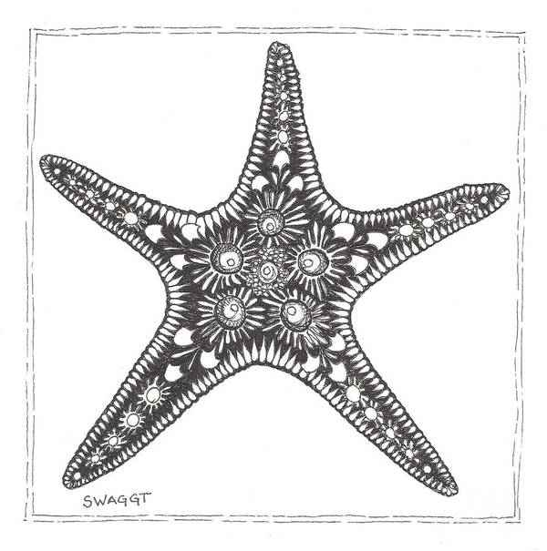 Coastal Art Poster featuring the drawing Starfish by Stephanie Troxell