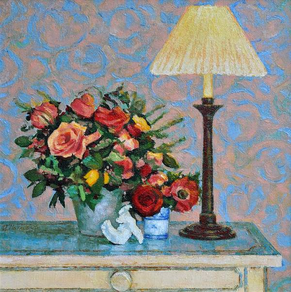 Flowers Poster featuring the painting Still Life With A Lamp by Iliyan Bozhanov
