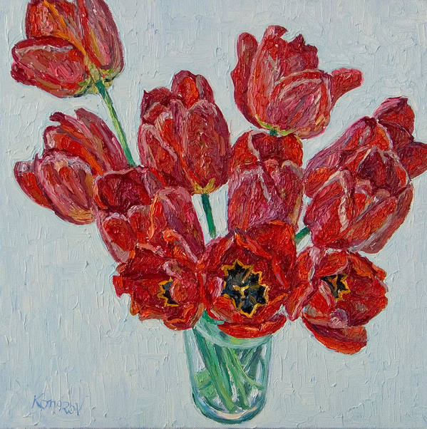 Flower Poster featuring the painting Still Life With Open Red Tulips by Vitali Komarov