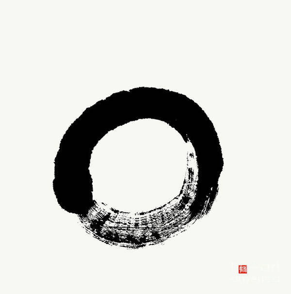 Enso Poster featuring the painting Straightforward Zen Enso by Nadja Van Ghelue