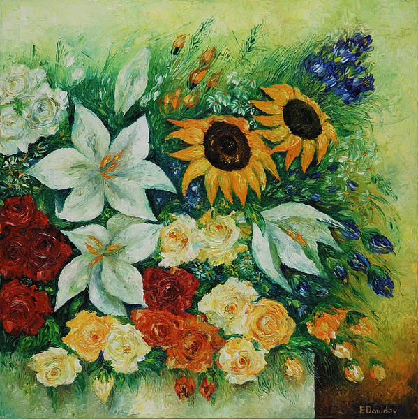 Flowers Poster featuring the painting Summer Bouquet - Right Part Of Diptych. by Evgenia Davidov