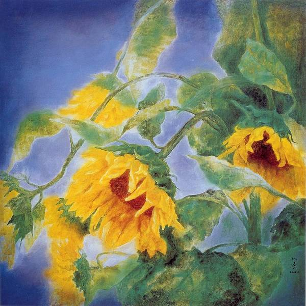Sun Flowers Poster featuring the painting Sun Flowers No.3 by Minxiao Liu