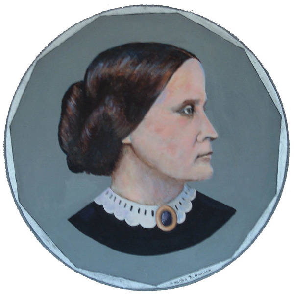 Susan B. Anthony Poster featuring the painting Susan B Anthony Coin by Art Nomad Sandra Hansen