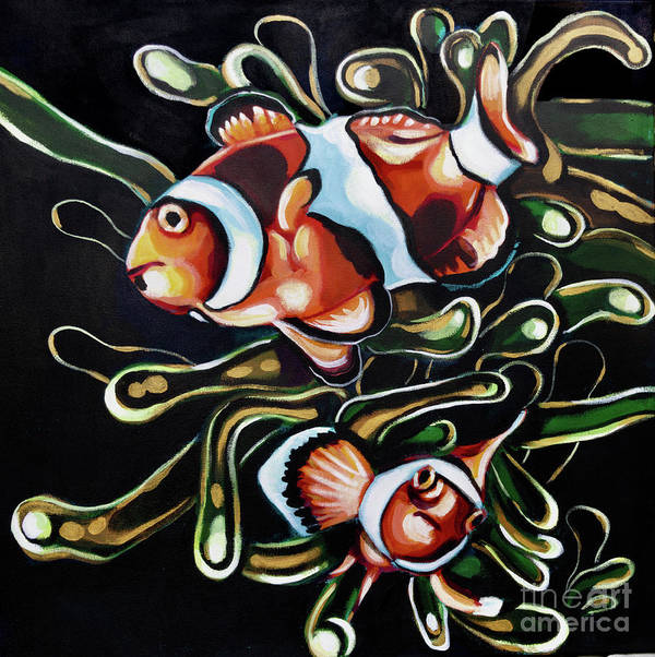 Clownfish Ocean Aquarium Pet Anemone Reef Orange Green Fish Sea Poster featuring the painting Symbiosis by Tiffany Brazell