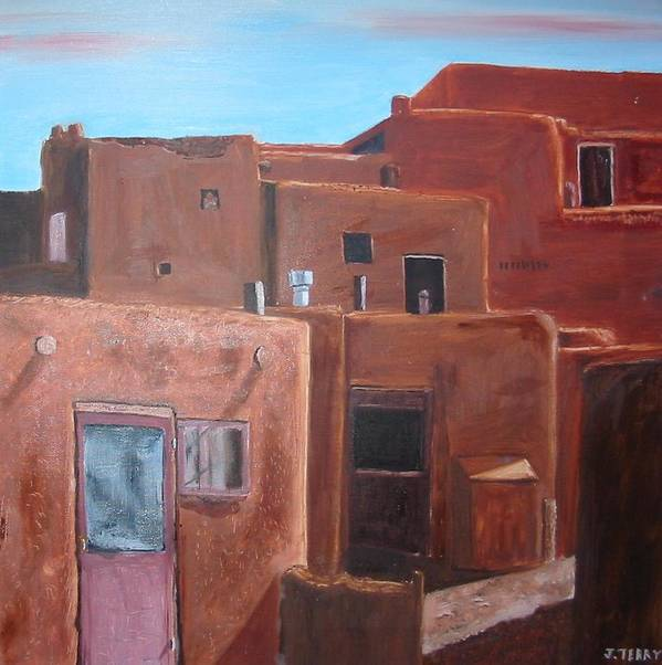 Southwest Poster featuring the painting Taos Pueblo Viii by John Terry