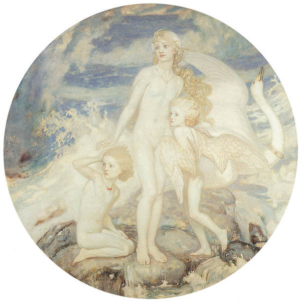 John Duncan Poster featuring the painting The Children Of Lir by John Duncan
